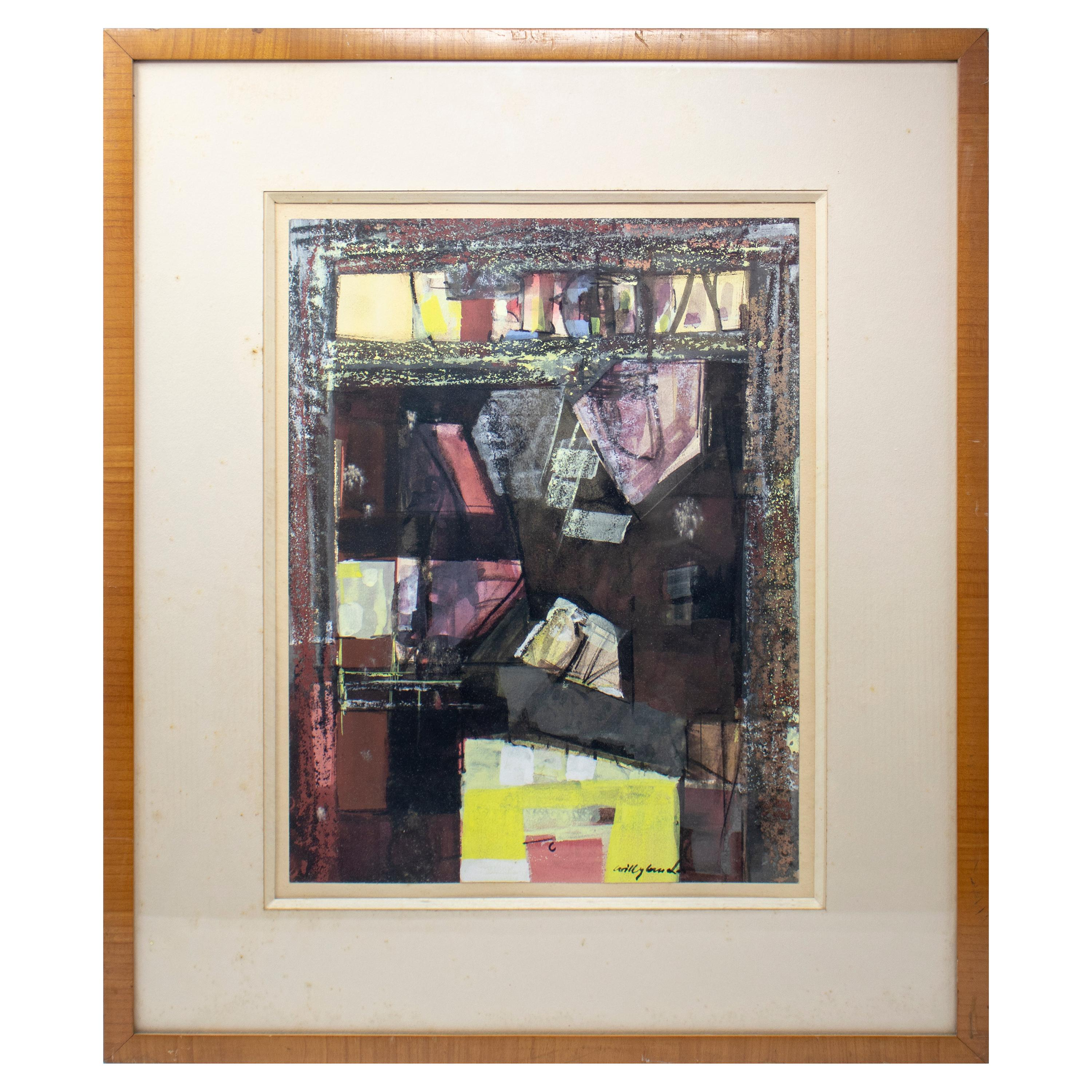 1970s Signed Contemporary Style Watercolor with Frame