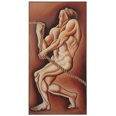 1970s Signed Oil on Canvas Man Pulling Rope