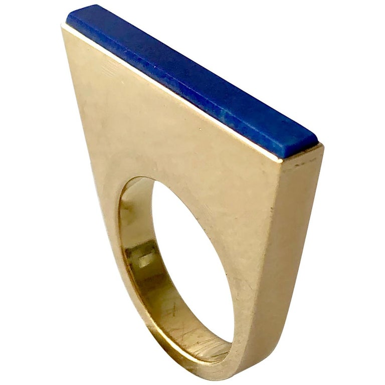 1970s Sigurd Persson 18 Karat Gold Lapis Lazuli Swedish Modernist Ring For Sale