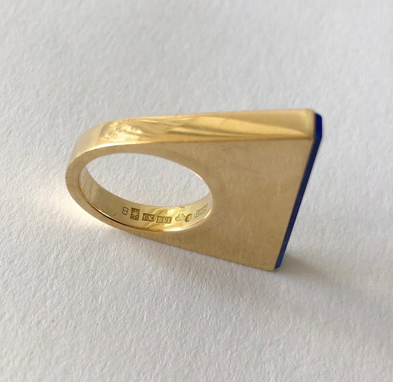 1970s Sigurd Persson 18 Karat Gold Lapis Lazuli Swedish Modernist Ring For Sale 1
