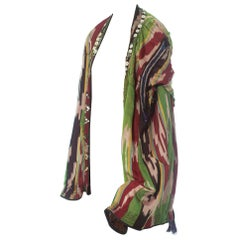 1970S Silk Authentic Uzbekistan Ikat Cape Hood With Buttons And Metal Embellish