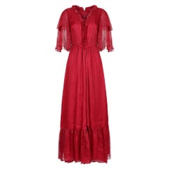 1970s Silk Chiffon Scarlet Red Victoriana Maxi Dress