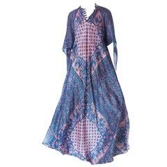 1970S Silk Hand Printed Boho Dress