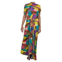 1970s Silk Jersey Multi Color Abstract Print Maxi dress