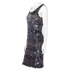 1970S Silk Sleeveless  Dress With Silver, Blue, And Black Sequins