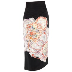 1970S Silk Wrap Skirt Made From A Kimono With Birds And Flowers