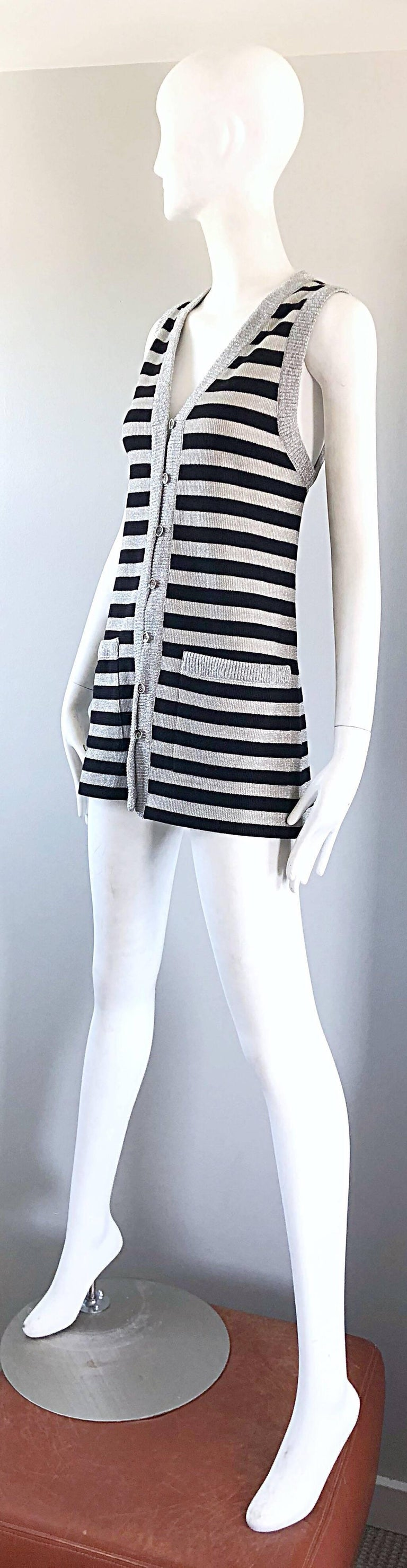 1970s Silver + Black Metallic Striped Sleeveless Vintage Vest Tunic / Mini Dress For Sale 6