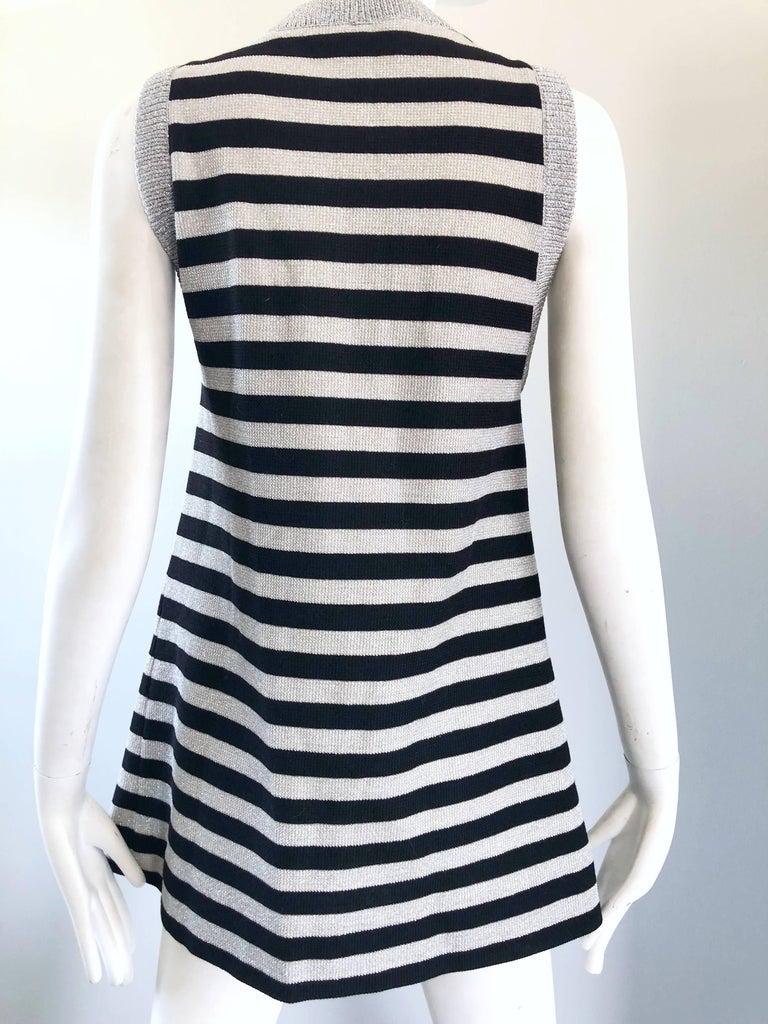 1970s Silver + Black Metallic Striped Sleeveless Vintage Vest Tunic / Mini Dress For Sale 7