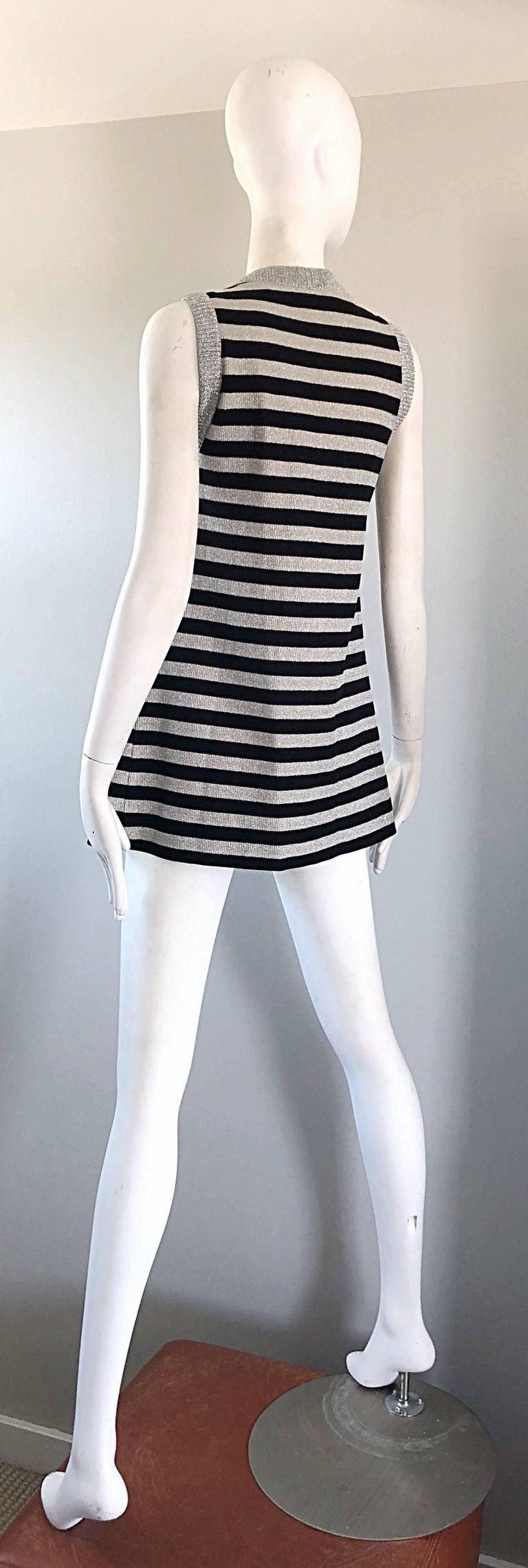 1970s Silver + Black Metallic Striped Sleeveless Vintage Vest Tunic / Mini Dress For Sale 8