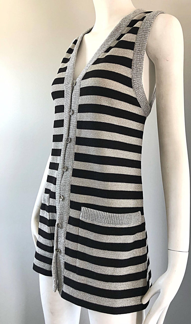 1970s Silver + Black Metallic Striped Sleeveless Vintage Vest Tunic / Mini Dress For Sale 9