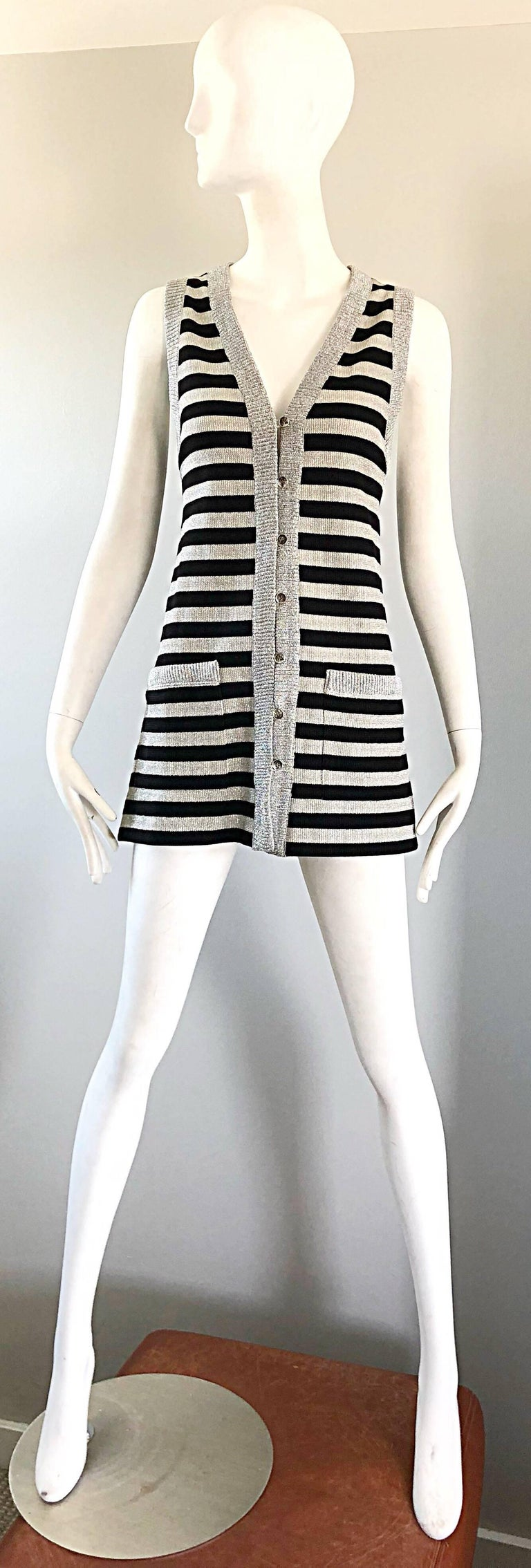 1970s Silver + Black Metallic Striped Sleeveless Vintage Vest Tunic / Mini Dress For Sale 11