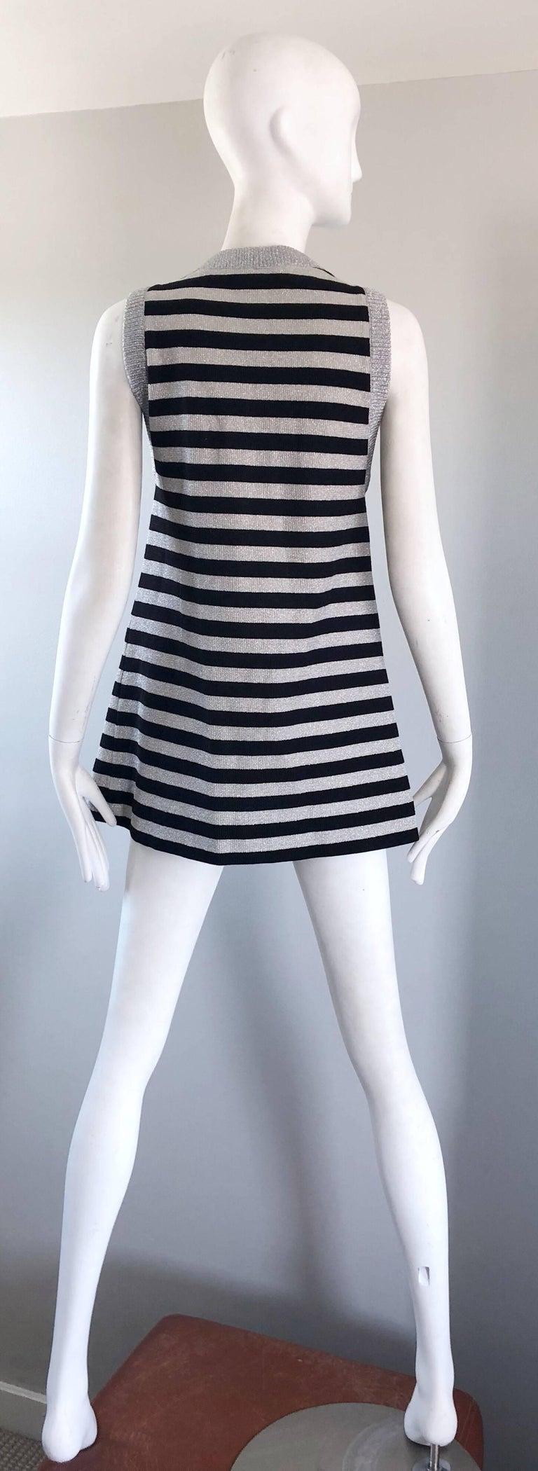 Women's 1970s Silver + Black Metallic Striped Sleeveless Vintage Vest Tunic / Mini Dress For Sale