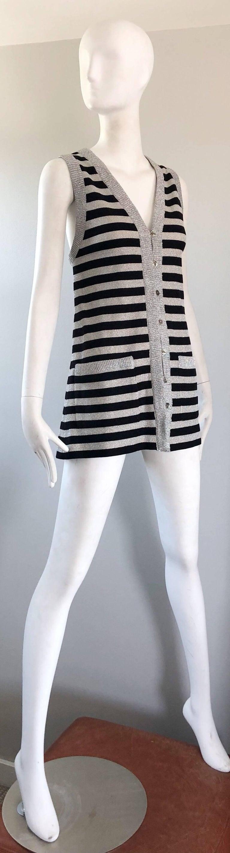 1970s Silver + Black Metallic Striped Sleeveless Vintage Vest Tunic / Mini Dress For Sale 1