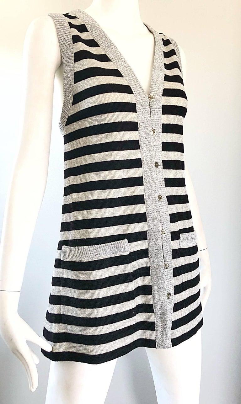 1970s Silver + Black Metallic Striped Sleeveless Vintage Vest Tunic / Mini Dress For Sale 2