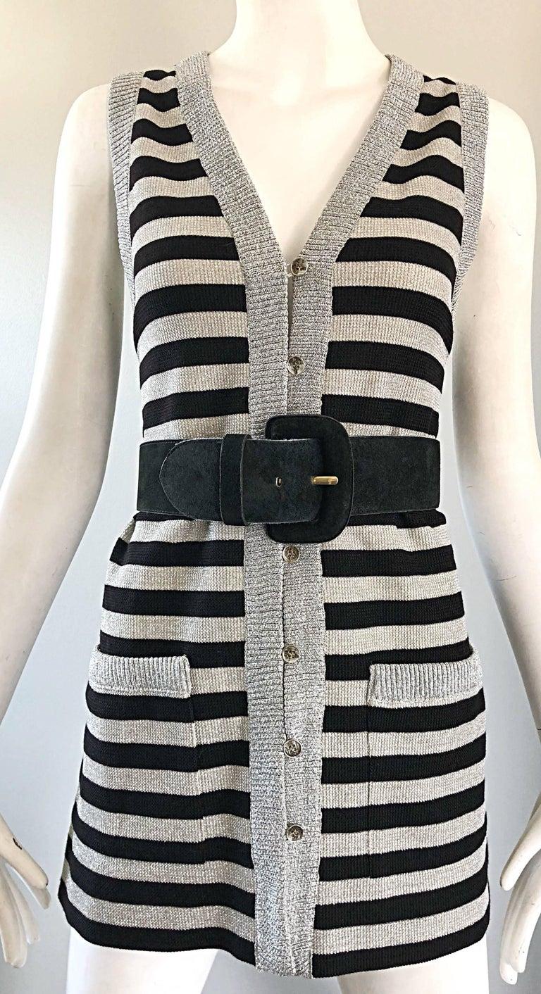 1970s Silver + Black Metallic Striped Sleeveless Vintage Vest Tunic / Mini Dress For Sale 3