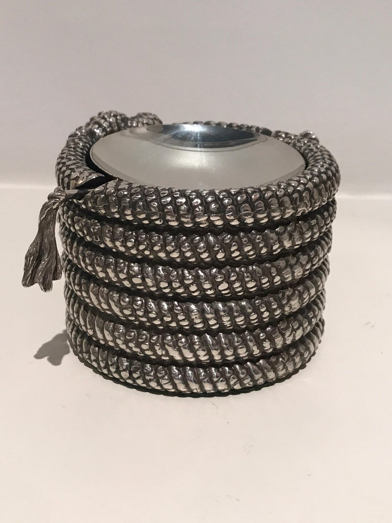 French 1970s Silver Cord Ashtray For Sale