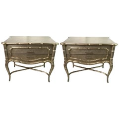 1970s Silver Giltwood Faux Bamboo Style Custom Made Side or End Tables