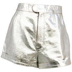 1970s Silver Metallic Leather High-waisted Disco Shorts