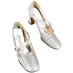 1970s Silver Metallic Mary Jane Heels