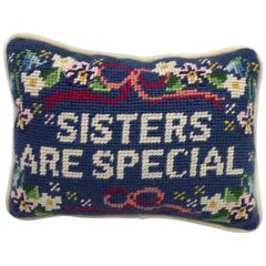 1970s 'Sisters are Special' Needlepoint Pillow