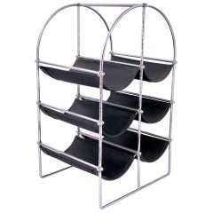 1970s Six Bottle Capacity Wine Rack in Chrome and Leather