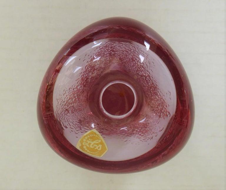 1970s SKLO Bohemian Modern Brutal Glass Vase by Zelezdroske Sklo Czechoslovakia In Good Condition For Sale In Miami, FL