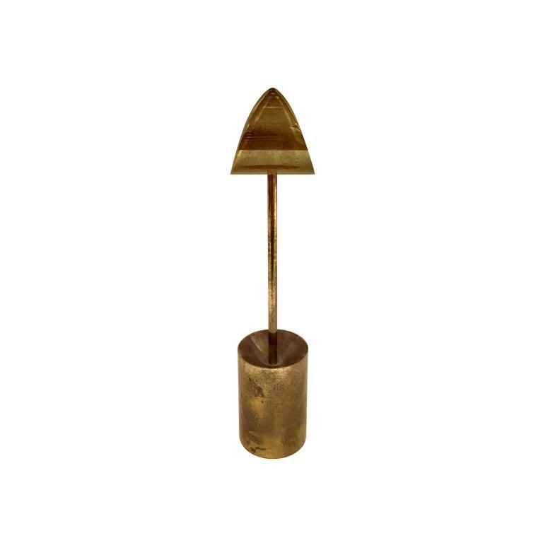 Skultuna solid brass sculptural candleholder, Sweden, 1970s.