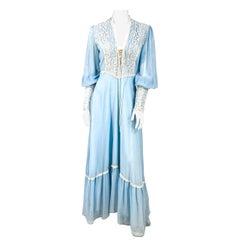 1970s Sky Blue Full-Length Dress