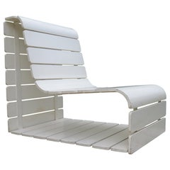 1970s Slatted Wooden Plywood White Loop Garden Chair