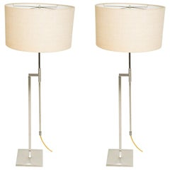1970s Sleek Pair of Midcentury Modern LAUREL Floor Lamps in Brushed Nickel