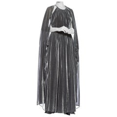 1970S Silver Metallic Lurex Knit Slinky Disco Gown With Attached Cape & Crystal