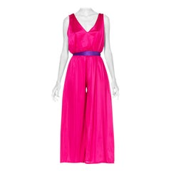 1970'S Hot Pink Polyester Jersey Slinky Disco Jumpsuit
