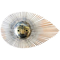 1970s Small Mexican Steel Sunburst Wall Hanging