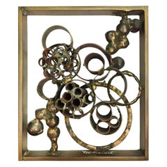 1970s Small Rectangular Brutalist Copper, Brass and Bronze Welded Sculpture