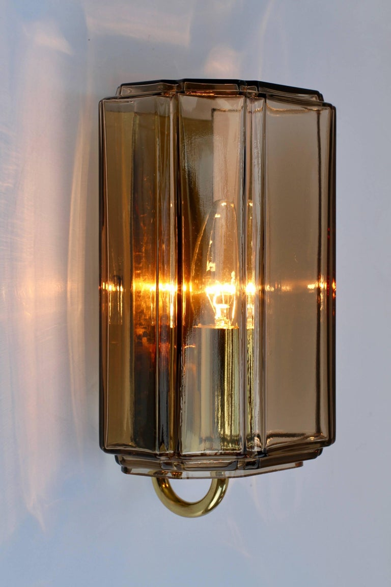 1970s Smoked \'Topaz\' Glass Wall Lights or Sconces by Limburg ...