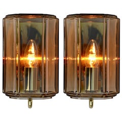 1970s Smoked 'Topaz' Glass Wall Lights or Sconces by Limburg, Germany