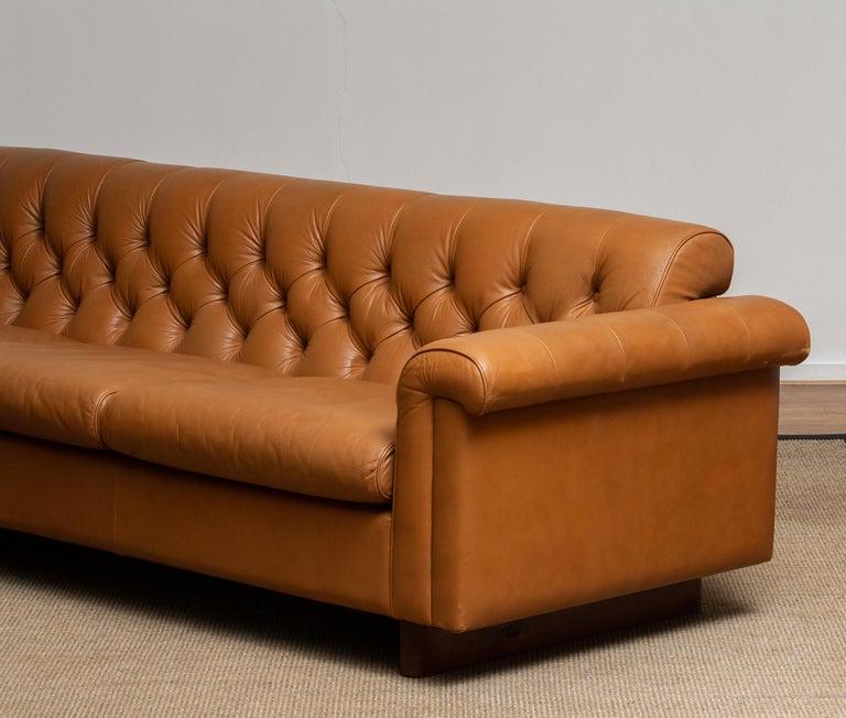 1970's Sofa by Karl Erik Ekselius for JOC Design in Camel Color Tufted Leather 4