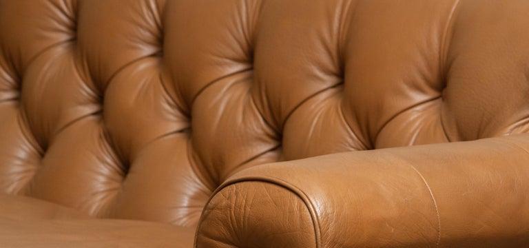 1970's Sofa by Karl Erik Ekselius for JOC Design in Camel Color Tufted Leather 5