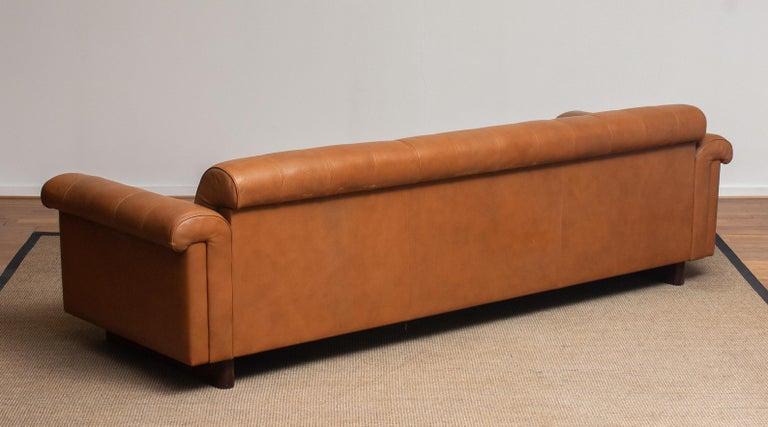 1970's Sofa by Karl Erik Ekselius for JOC Design in Camel Color Tufted Leather 6