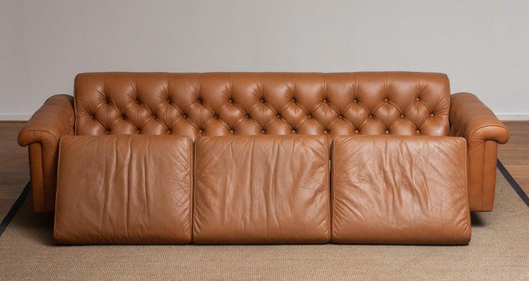 1970's Sofa by Karl Erik Ekselius for JOC Design in Camel Color Tufted Leather 8