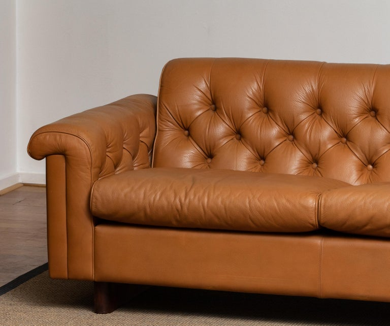Scandinavian Modern 1970's Sofa by Karl Erik Ekselius for JOC Design in Camel Color Tufted Leather