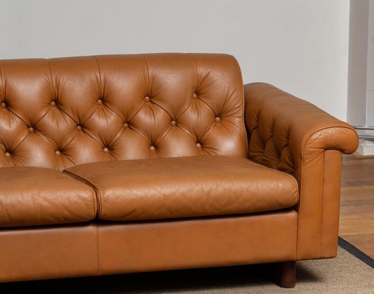 Swedish 1970's Sofa by Karl Erik Ekselius for JOC Design in Camel Color Tufted Leather