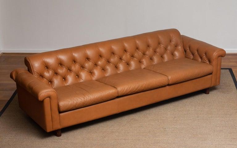 1970's Sofa by Karl Erik Ekselius for JOC Design in Camel Color Tufted Leather 1
