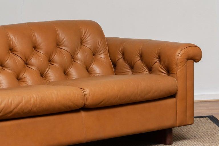 1970's Sofa by Karl Erik Ekselius for JOC Design in Camel Color Tufted Leather 2
