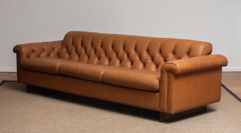 1970's Sofa by Karl Erik Ekselius for JOC Design in Camel Color Tufted Leather 3