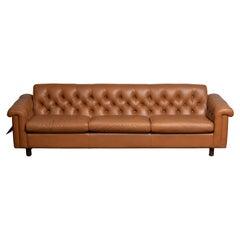 1970's Sofa by Karl Erik Ekselius for JOC Design in Camel Color Tufted Leather
