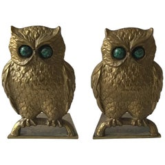 1970s Israeli Solid Brass Owl  Bookends with Stone Eyes