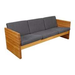 1970s Solid Oak Case Sofa