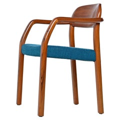 1970s Solid Teak Danish Modern Armchair with New Upholstery