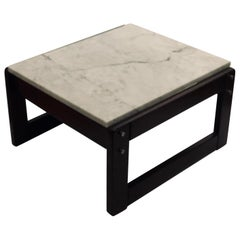 1970s Solid Wood Base on Italian Carrara Marble Cocktail Low Table by Lafer